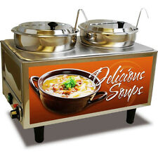 Dual Well Countertop Soup Station Food Warmer - Commercial Heated Chili Server