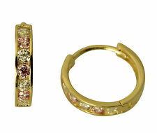 14K Yellow Gold 2mm Thick 7 stone Pink CZ Polished Hoop Huggies Earrings