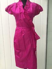 """Diane Von Furstenberg NWT $425 Magenta Silk Ruffle Wrap """"Victoire"""" Dress SZ 2"""