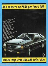 QUATTROR983-PUBBLICITA'/ADVERTISING-1983- RENAULT FUEGO TURBO 1600