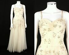 VTG 1930s 1940s IVORY GOLD SEQUINED TULLE LACE EVENING DRESS BALL GOWN SZ XS