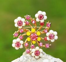 CORO signed Cherry blossom flowers gold tone pink white rhinestones   BROOCH