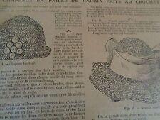 """PATRON ORIGINAL  POUPEE """" BLEUETTE """" CHAPEAU TROTTEUR & CAPELINE SEPTEMB   1918"""