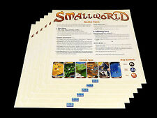 Small World Replacement Game Rules Player Summary Sheet Set 6pc