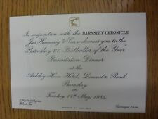 15/08/1984 Barnsley: Player Of The Year Presentation Dinner - Invitation Card/Ti