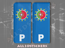 2x3D Sticker Resin Domed Euro PORTUGAL Number Plate with Flag Car Badge Adhesive