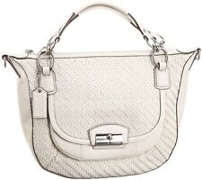 $498 NEW Coach Kristin Leather Handbag Woven Round 19312 White Purse Bag Satchel