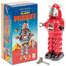 Tin Mechanical Planet Robot - Red  - Fun Clockwork Traditional Collectible Toy