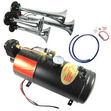 New 4 Trumpet Chrome Train Air Horn With 125 PSI 3 Liter 12V Air Compressor
