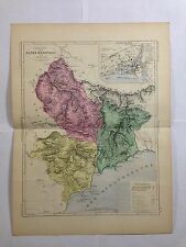 GRAVURE FRANCE ILLUSTREE DEPARTEMENT 06 ALPES MARITIMES 1881 MALTE BRUN CARTE