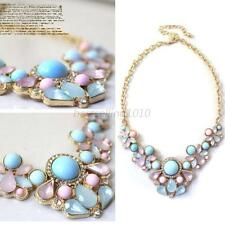 Womens New Resin Flower Crystal Pendant Collar Necklace Costume Jewelry Gift B90