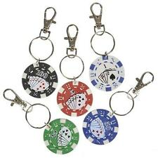 12 POKER CHIP KEYCHAINS Casino Quality Texas Hold 'Em Lucky Coin #ST30 Free Ship