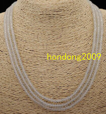 NATURAL 3 Rows 2X4mm FACETED WHITE OPAL  BEADS NECKLACE