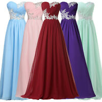 Chiffon Womens Long Maxi Evening Gown Prom Party Bridesmaid Dress Formal UK 6-20