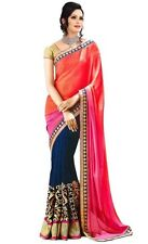 Indian Saree Bollywood Party Wear Diwali EID Sari Dress Pink Blue Red Gold M2