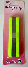 Reflective Tape Sew On  - Yellow  - 2m x 25mm for High Visibility Safety