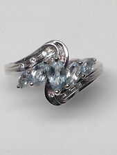 10K White Gold Marquise Shape AQUAMARINE and Natural Diamond Cluster Ring NEW