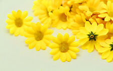 NEW 20PCS yellow Gerbera Daisy Heads Artificial Silk Flowers Wedding Dia 4cm