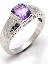 Solid 925 Sterling Silver Natural Gem Stone Amethyst Men's Ring Fine Jewelery