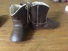 Mud Pie Cute Baby Boy Fancy Dress-up Shoes Brown Leather Boots Size 0-6M