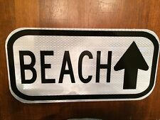 "BEACH Road Sign 12""x6"" - UNUSED DOT sign - traffic highway road"