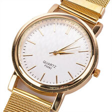 LADIES GOLD STRAP WATCH WRISTBAND WOMENS FASHION PLAIN BRACELET THIN BAND GOLDEN