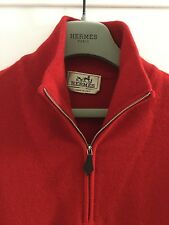 BNWOT HERMES 100% CASHMERE ZIP-NECK/LEATHER PULL RED MEN'S JUMPER SIZE LARGE