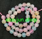 Nature 8mm faceted Morganite color Agate Round Gemstones LOOSE beads 15''