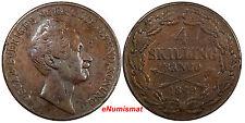 Sweden Oscar I Copper 1849 4 Skilling 37.2mm 1st Date Mintage-444,000 KM# 672