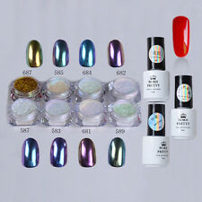 12pcs/set Nail Art Chameleon Mirror Glitter Powder Chrome Pigment Red UV Gel