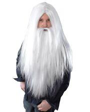 mago larga recta barba y peluca pap noel disfraz de halloween