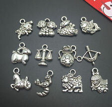 12pcs Tibet silver 12 constellatio wallet Pendant beaded Jewelry Findings Charm