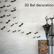 12pcs 3D Stereoscopic Bat Wall Sticker Decal Removable Halloween Festival Decor