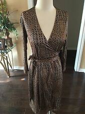 New ECCOCI Leopard Print Silk Rayon Jersey Wrap Around Dress DVF S 0 Sexy