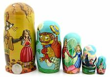 Russian nesting 5 dolls Thumbelina Mole Mouse Cockchafer Andersen Fairy tale ART