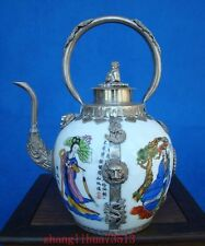 Antique Collectible Chinese Handmade Silver & Porcelain Inlaid Teapot Art Deco