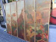 Antique Art Deco Asian Screen Lalique Style Acid Etched Glass  Room Divider