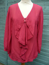 TOP SHIRT SIZE 8 BY ANISE WATERFALL FRONT 3/4 SLEEVES DIP FRONT CERISE BNWT