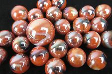 25 Glass Marbles MONARCH iridescent Orange Black White Game Pack Shooter Swirl