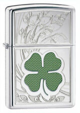 Zippo 24699, 4 Leaf Clover-Shamrock, HP Chrome Lighter, ***6 Flints/Wick***
