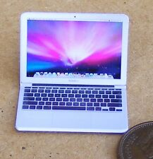 1:12 Plastic White Dolls House Miniature Apple Mac Air Laptop Computer Accessory