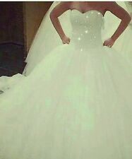 wedding dress size 10 princess style beaded. stunning. two separate pieces.white