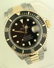 Men's Rolex Submariner 16613 Stainless & 18k Gold Black Dial Serviced Box&Papers