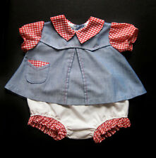 Vintage Handmade Baby Girl Cowgirl Chambray Gingham Dress & Bloomers 6-12 Months
