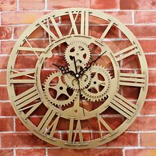 Gold 3D Vintage Gear Wall Clock European Antique Roman Time Mute Home Decor