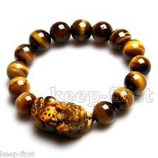 Fashion 12mm Tiger's Eye Bead Dragon Pi Xiu Coin Bangle Feng Shui Bracelet 7.5''