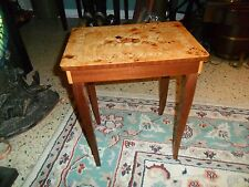 Vintage BURL WOOD INLAY MUSIC BOX TRINKET BOX TABLE Made Italy Plays Carpenter's