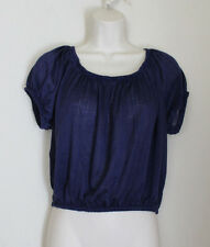 ABOUT A GIRL Navy Blue SS Crop Top Semi Sheer Size L Elastic Neck & Midriff NWOT