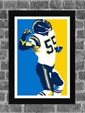 San Diego Chargers Junior Seau Portrait Sports Print Art 11x17