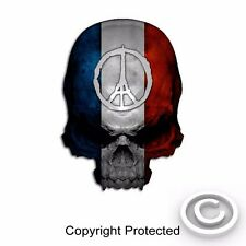 "Peace French Flag Skull Decal Vintage France Sticker Paris Graphic 6"" size"